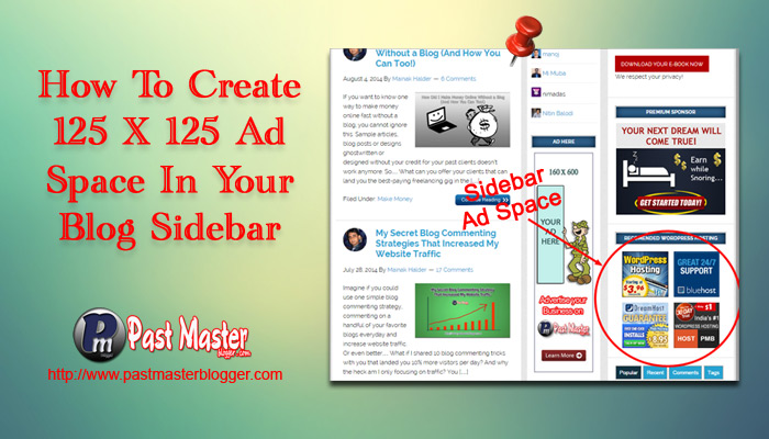Create 125 X 125 Ad Space in Your Blog Sidebar