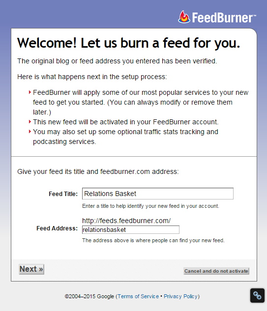 setting up feedburner
