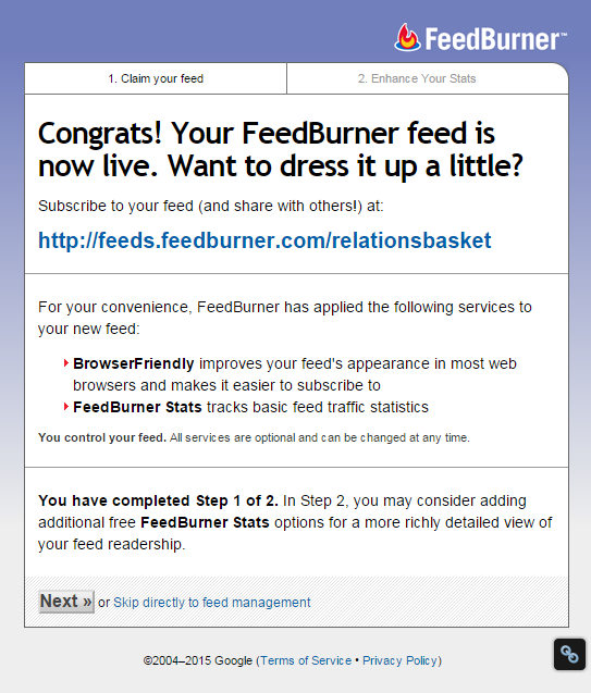how to set up feedburner